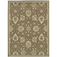 "Style Haven Brown/Beige Polypropylene Casual Floral Area Rug (9'10 x 12'10) - 9'10"" x 12'10"""