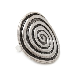 Mayan Series Silver and Pewter Round Swirl Ring