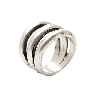 Mayan Series Solid Round Design No7 Silver and Pewter Ring