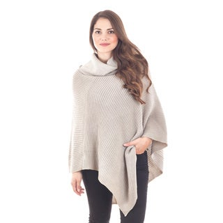 Turtleneck Knit Poncho (Option: Tan)