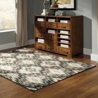Abstract Ikat Ivory/Blue Area Rug - 9'10 x 12'10
