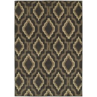 "Style Haven Ikat Charcoal/Grey Lattice-design Area Rug (9'10 x 12'10) - 9'10"" x 12'10"""