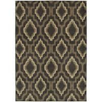 "Style Haven Ikat Charcoal/Grey Lattice-design Area Rug (9'10 x 12'10) - 9'10"" x 12'10"""