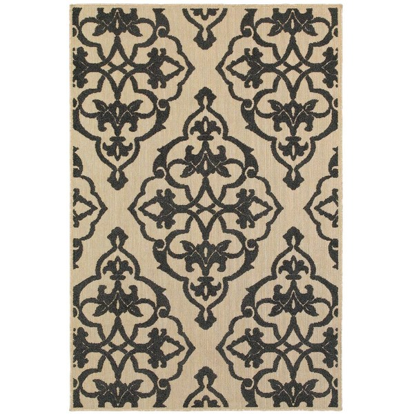 StyleHaven Medallion Sand/ Charcoal Indoor-Outdoor Area Rug - 9'10 x 12'10