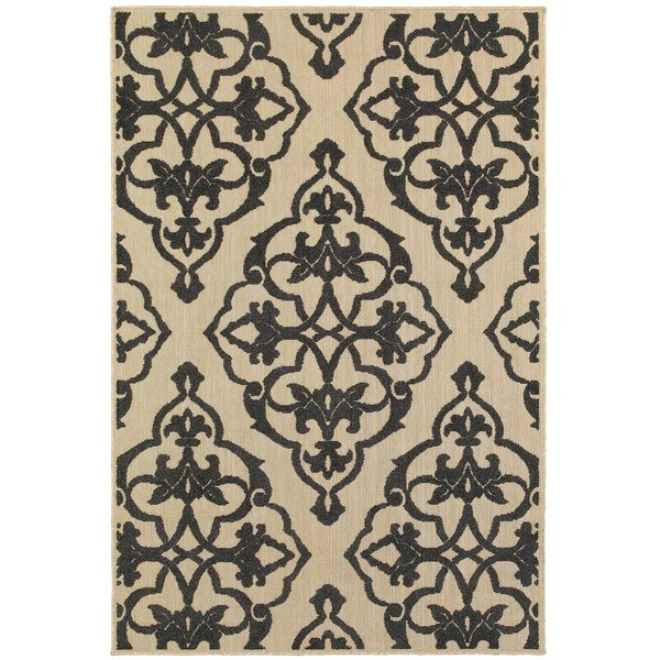 """Mixed Pile Medallion Sand/ Charcoal Indoor-Outdoor Area Rug - 7'10"""" x 10'10"""""""