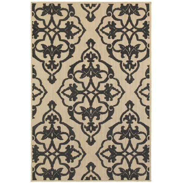 StyleHaven Medallion Sand/ Charcoal Indoor-Outdoor Area Rug - 7'10 x 11'