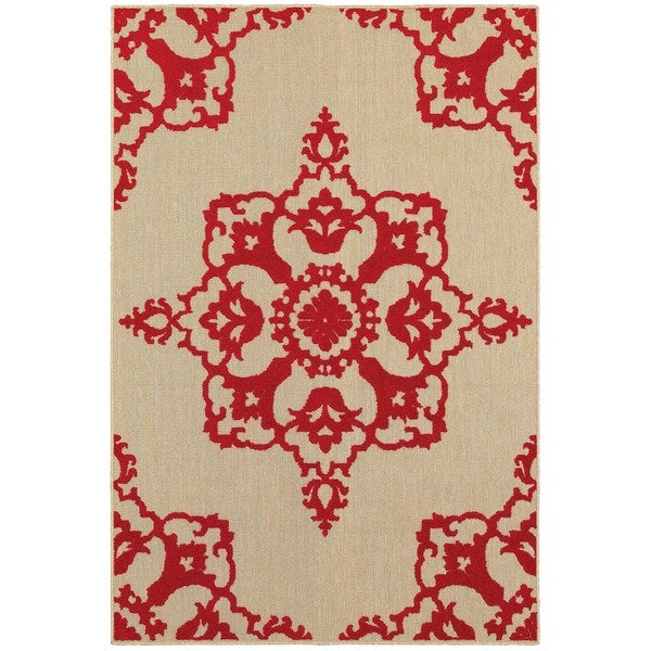 StyleHaven Medallion Sand/ Red Indoor-Outdoor Area Rug - 9'10 x 12'10