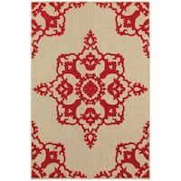 StyleHaven Medallion Sand/ Red Indoor-Outdoor Area Rug - 7'10 x 10'10