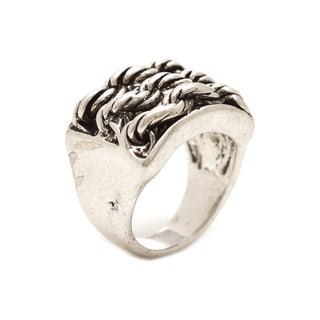 Mayan Series Silver and Pewter Solid Carved Rope Design Ring