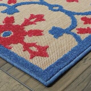 StyleHaven Medallion Sand/ Pink Indoor-Outdoor Area Rug - 9'10 x 12'10