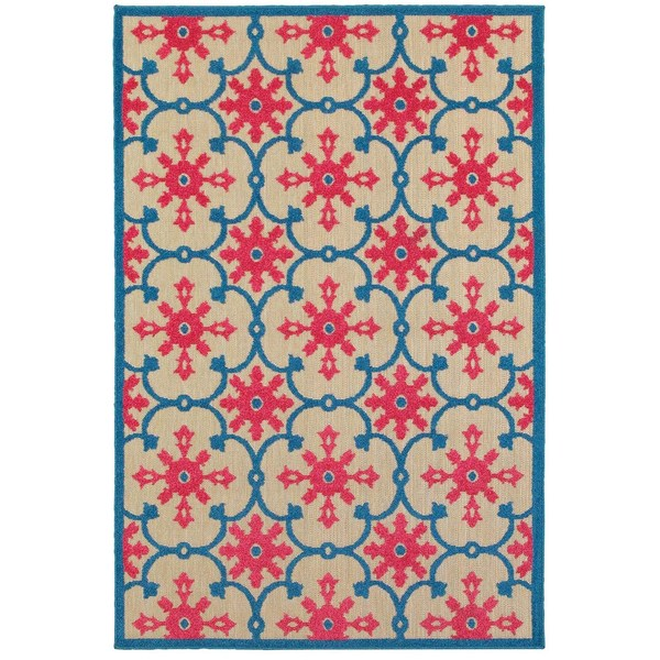 "Mixed Pile Medallion Sand/ Pink Indoor-Outdoor Area Rug - 7'10"" x 10'10"""
