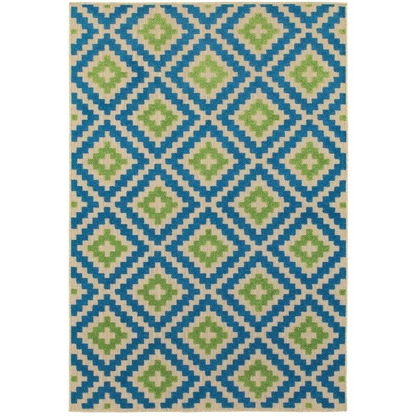 "Mixed Pile Lattice Sand/ Blue Indoor-Outdoor Area Rug - 9'10"" X 12'10"""