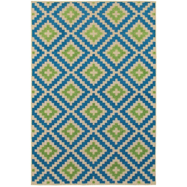 StyleHaven Lattice Sand/ Blue Indoor-Outdoor Area Rug - 9'10 x 12'10