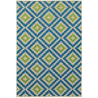 Style Haven Geo Diamond Lattice Blue/Sand Indoor/Outdoor Rug (7'10 x 10'10)