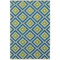 StyleHaven Lattice Sand/ Blue Indoor-Outdoor Area Rug - 7'10 x 10'10