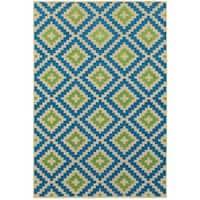 "Mixed Pile Lattice Sand/ Blue Indoor-Outdoor Area Rug - 7'10"" x 10'10"""