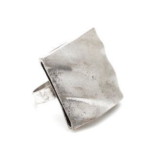 Mayan Series No9 Solid Square Design Silver and Pewter Ring