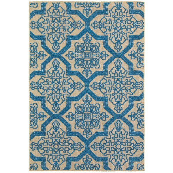 """Mixed Pile Medallion Sand/ Blue Indoor-Outdoor Area Rug - 9'10"""" x 12'10"""""""