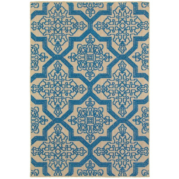 StyleHaven Medallion Sand/ Blue Indoor-Outdoor Area Rug - 9'10 x 12'10