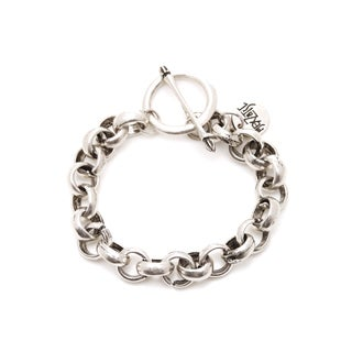 Mayan Series Men's Solid Link Design No 3 Silver and Pewter Bracelet