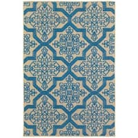 """Mixed Pile Medallion Sand/ Blue Indoor-Outdoor Area Rug - 7'10"""" x 10'10"""""""