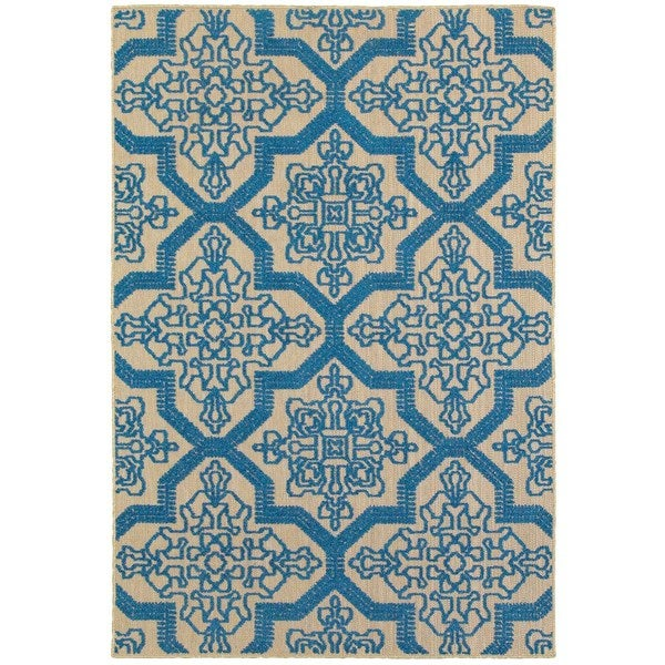StyleHaven Medallion Sand/ Blue Indoor-Outdoor Area Rug - 7'10 x 10'10