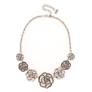 Mayan Series Silver and Pewter Hand-fashioned Wild Flower Necklace