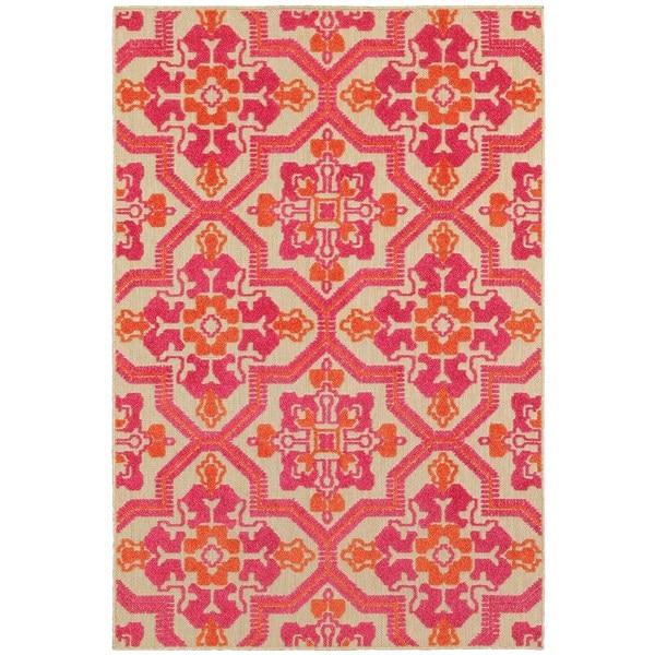 StyleHaven Medallion Sand/ Pink Indoor-Outdoor Area Rug - 7'10 x 10'10
