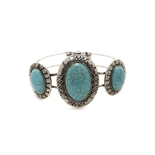Aztec Design Vintage Silver and Mexican Oval Turquoise Stone Handcrafted Bangle