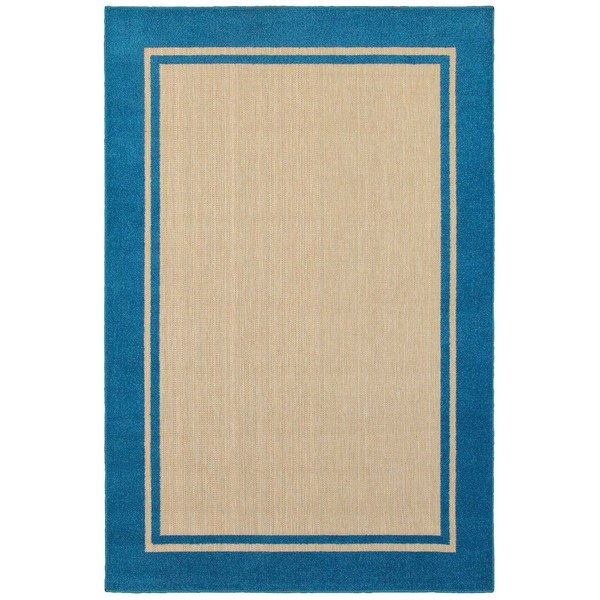 StyleHaven Borders Sand/ Blue Indoor-Outdoor Area Rug - 9'10 x 12'10