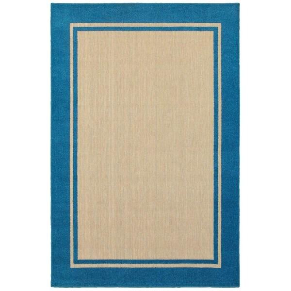 "Mixed Pile Borders Sand/ Blue Indoor-Outdoor Area Rug - 7'10"" x 10'10"""