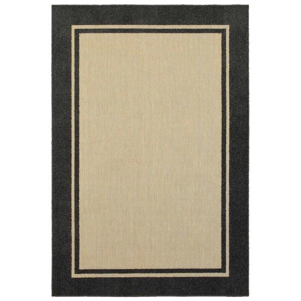 "Mixed Pile Borders Sand/ Charcoal Indoor-Outdoor Area Rug - 7'10"" x 10'10"""