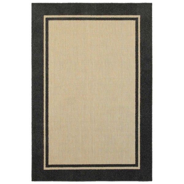 Stylehaven Borders Sand Charcoal Indoor Outdoor Area Rug