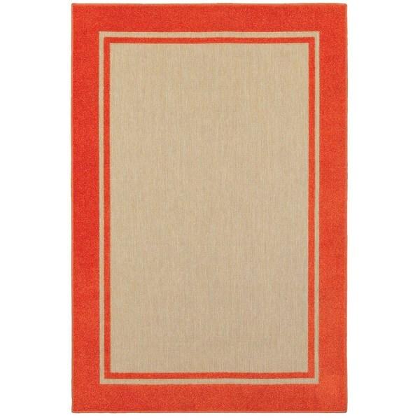 """Mixed Pile Borders Sand/ Orange Indoor-Outdoor Area Rug - 9'10"""" x 12'10"""""""