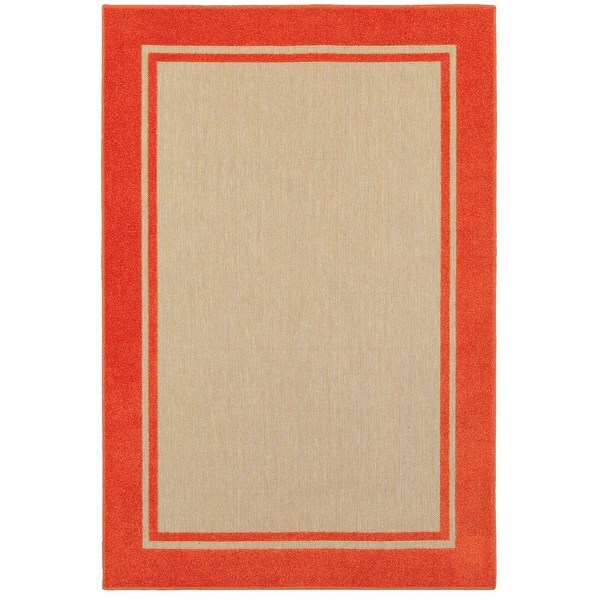 StyleHaven Borders Sand/ Orange Indoor-Outdoor Area Rug - 9'10 x 12'10