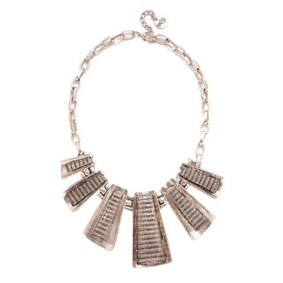 Mayan Series No. 6 Silver and Pewter Handmade Tribal-design Necklace