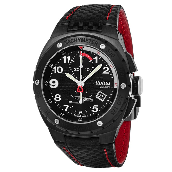 Alpina Men's 'Sebring' Black Dial Black Leather Strap Chronograph Swiss Automatic Watch