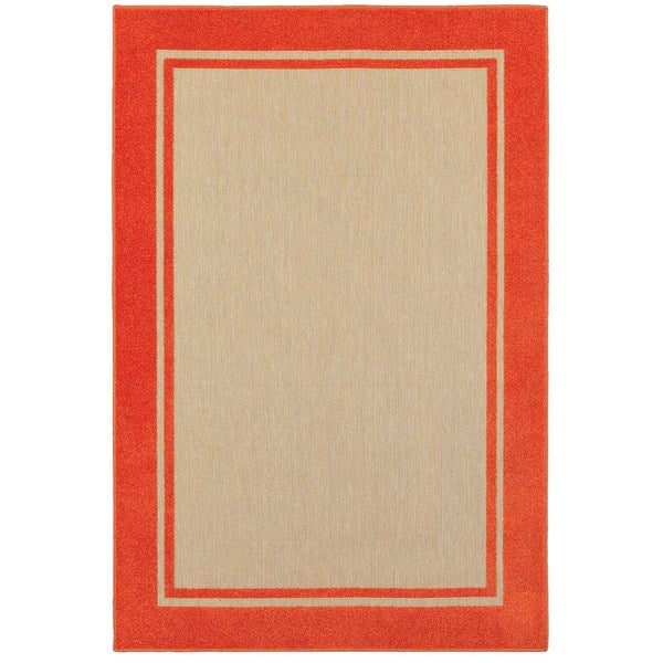 StyleHaven Borders Sand/ Orange Indoor-Outdoor Area Rug - 7'10 x 10'10