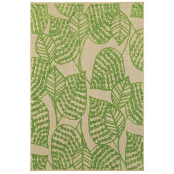 StyleHaven Botanical Sand/ Green Indoor-Outdoor Area Rug - 9'10 x 12'10