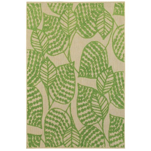 "Mixed Pile Botanical Sand/ Green Indoor-Outdoor Area Rug - 7'10"" x 10'10"""