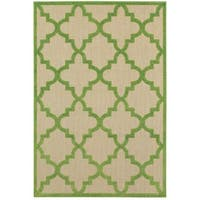 StyleHaven Lattice Sand/ Green Indoor-Outdoor Area Rug - 9'10 x 12'10