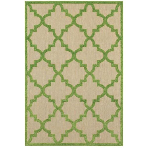 StyleHaven Lattice Sand/ Green Indoor-Outdoor Area Rug - 9'10 x 12'10