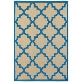 Quatrafoil Lattice Sand/Blue Polypropylene Indoor/Outdoor Rug (9'10 x 12'10)