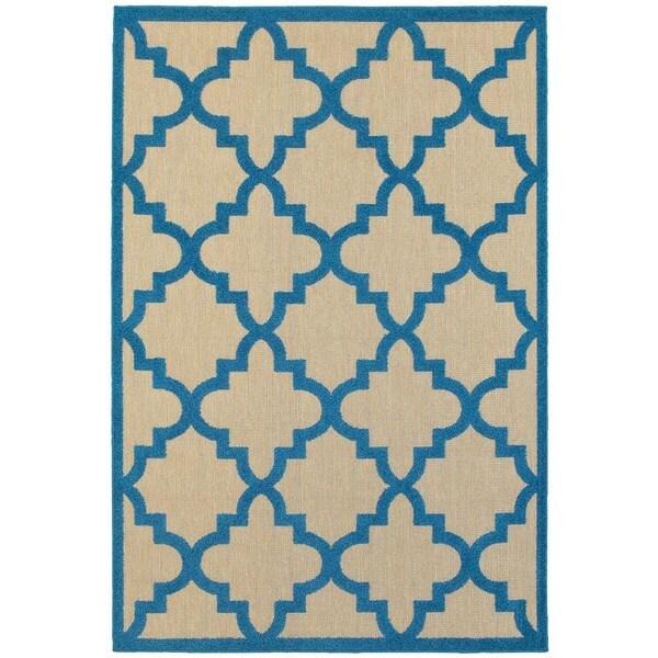 """StyleHaven Lattice Sand/ Blue Indoor-Outdoor Area Rug (9'10x12'10) - 9'10"""" x 12'10"""""""
