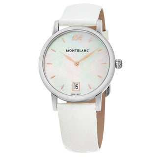 Mont Blanc Women's 108765 'StarClassique' Mother of Pearl Dial White Leather Strap Swiss Quartz Watch
