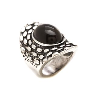 Mayan Series Silver and Pewter Black Onyx Ring