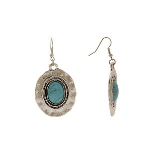 Aztec Design Silver Setting Turquoise Oval Design Number 20 Vintage-style Dangle Earrings