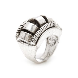 Mayan Series Silver Pewter Solid Carved Coil Ring
