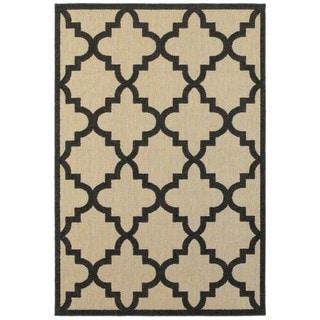 Style Haven Quatrafoil Lattice Charcoal/Sand Indoor/Outdoor Rug (9'10 x 12'10)