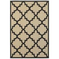 StyleHaven Lattice Sand/ Charcoal Indoor-Outdoor Area Rug - 9'10 x 12'10